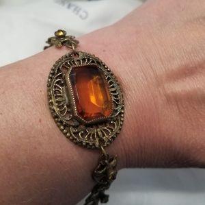 Antique Victorian Topaz Glass Filigree Bracelet